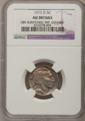 Buffalo Nickels, 1915-D 5C --Improperly Cleaned, Obv Scratched--NGC Details. AU. Mintage: 7,569,000...