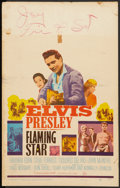 "Movie Posters:Elvis Presley, Flaming Star (20th Century Fox, 1960). Window Card (14"" X 22"").Elvis Presley.. ..."
