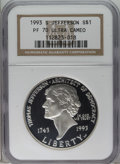 Modern Issues: , 1993-S $1 Jefferson Silver Dollar PR70 Deep Cameo NGC. PCGSPopulation (3/0). Mintage: 332,891. (#9689)...