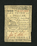Colonial Notes:Continental Congress Issues, Continental Currency February 17, 1776 $1/3 Extremely Fine-AboutNew....
