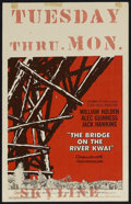 "Movie Posters:War, The Bridge On The River Kwai (Columbia, 1958). Window Card (14"" X22""). War. Starring William Holden, Alec Guinness, Jack Ha..."