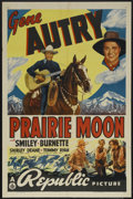 "Movie Posters:Western, Prairie Moon (Republic, 1938). One Sheet (27"" X 41""). Western. Starring Gene Autry, Smiley Burnette, Shirley Deane, and Tomm..."