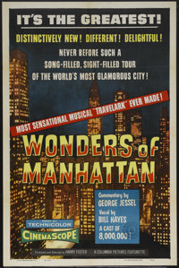 """Wonders of Manhattan (Columbia, 1956). One Sheet (27"""" X 41""""). Travel Featurette. Canadian censor stamp and sof..."""