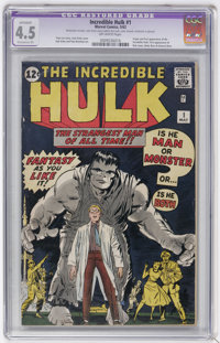 The Incredible Hulk #1 (Marvel, 1962) CGC Apparent VG+ 4.5 Extensive (P) Off-white pages