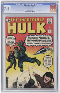 The Incredible Hulk #3 (Marvel, 1962) CGC VF- 7.5 Off-white to white pages