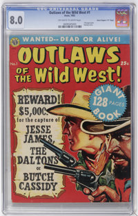 """Outlaws of the Wild West #1 Davis Crippen (""""D"""" Copy) pedigree (Avon, 1952) CGC VF 8.0 Off-white to white pages..."""