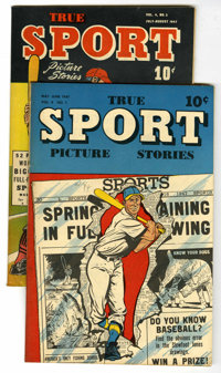 """True Sport Picture Stories V4#1 and 2 Group - Davis Crippen (""""D"""" Copy) pedigree (Street & Smith, 1947)..."""