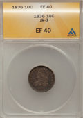 Bust Dimes: , 1836 10C XF40 ANACS. JR-3. NGC Census: (7/173). PCGS Population(17/164). Mintage: 1,190,000. Numismedia Wsl. Price for pr...