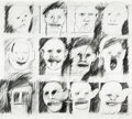 Mainstream Illustration, PETER GREENAWAY (British, b. 1942). Pencil Heads/Pencil Cast,from The Audience series, 1992. Pencil on board. 27.5 x 31...