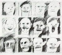 PETER GREENAWAY (British, b. 1942) Pencil Heads/Pencil Cast, from The Audience series, 1992 Pencil o