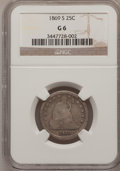 Seated Quarters: , 1869-S 25C Good 6 NGC. NGC Census: (1/20). PCGS Population (2/53).Mintage: 76,000. Numismedia Wsl. Price for problem free ...