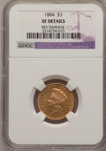Three Dollar Gold Pieces, 1884 $3 --Reverse Damage--NGC Details. XF....