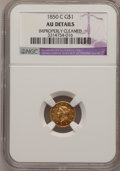 Gold Dollars, 1850-C G$1 --Improperly Cleaned--NGC Details. AU. Variety 1....