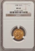 Indian Quarter Eagles: , 1908 $2 1/2 MS62 NGC. NGC Census: (2360/2964). PCGS Population(1163/3098). Mintage: 564,800. Numismedia Wsl. Price for pro...