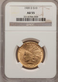 Indian Eagles: , 1909-D $10 AU55 NGC. NGC Census: (47/715). PCGS Population(108/788). Mintage: 121,540. Numismedia Wsl. Price for problem f...