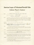 Baseball Collectibles:Others, 1921 Carl Mays Signed Uniform Player's Contract....