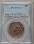 Large Cents: , 1836 1C XF45 PCGS. PCGS Population (7/96). NGC Census: (9/127).Mintage: 2,111,000. Numismedia Wsl. Price for problem free ...