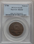 1786 COPPER New Jersey Copper, Narrow Shield VG10 PCGS. PCGS Population (9/166). NGC Census: (3/45). (#496)...(PCGS# 496...
