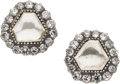 Estate Jewelry:Earrings, Diamond, Silver-Topped Gold Earrings. ... (Total: 2 Items)