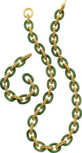 Estate Jewelry:Suites, Nephrite Jade, Gold Jewelry Suite, Cellino, retailed by NeimanMarcus. ...