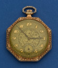 Timepieces:Pocket (post 1900), Gruen 14k Gold 12 Size Verithin Pocket Watch. ...