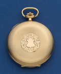 Timepieces:Pocket (post 1900), Mathey Tissot Choice 14k Gold 48 mm Hunters Case Pocket Watch. ...