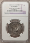 Coins of Hawaii, 1883 50C Hawaii Half Dollar--Improperly Cleaned--NGC VF Details.NGC Census: (3/346). PCGS Population (11/559). Mintage: 7...