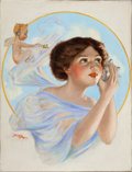 Mainstream Illustration, JOHN DREW (American, 20th Century). I Hear Love Calling, pulpcover. Oil on canvas. 24 x 18.25 in.. Signed lower left. ...