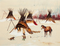 DAVID POWELL (American, b. 1954) Set of three paintings: Stagecoach Attack, Indians with Tipi, and T