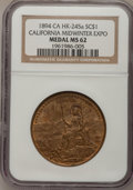 So-Called Dollars, 1894 California Midwinter Expo MS62 NGC. HK-245a....
