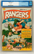 Golden Age (1938-1955):War, Rangers Comics #4 (Fiction House, 1942) CGC VF+ 8.5 White pages....