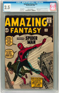 Silver Age (1956-1969):Superhero, Amazing Fantasy #15 (Marvel, 1962) CGC GD+ 2.5 Off-white to white pages....