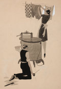 Mainstream Illustration, HARRY BECKHOFF (American, 1901-1979). Washing the Clothes, storyillustration. Watercolor on board. 15.75 x 10.75 in.. S...
