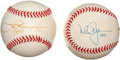Baseball Collectibles:Balls, Mark McGwire and Sammy Sosa Single Signed Baseballs Lot of 2....