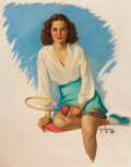 Pin-up and Glamour Art, HAROLD W. CHENEY (1889-1946). Tennis Girl. Oil on canvasboard. 27.5 x 21.5 in.. Signed lower right. From theEstate...