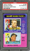 "Baseball Cards:Singles (1970-Now), 1975 Topps ""1960 MVPs"" Roger Maris-Dick Groat #198 PSA/DNA Authentic - Signed by Maris. ..."
