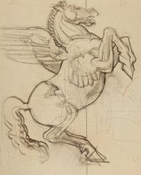 DEAN CORNWELL (American, 1892-1960) Pegasus Pencil on paper 20 x 16 in. (window) Not signed