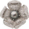 Estate Jewelry:Brooches - Pins, Black South Sea Cultured Pearl, Diamond, White Gold Pendant-Brooch. ...
