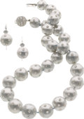 Estate Jewelry:Suites, Silver South Sea Cultured Pearl, Diamond, White Gold Suite. ...