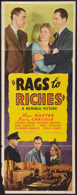 """Rags to Riches (Republic, 1941). Insert (14"""" X 36""""). Drama"""