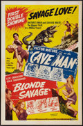 "Movie Posters:Adventure, The Cave Man/Blonde Savage Combo (Favorite Films, R-1952). OneSheet (27"" X 41""). Adventure. One Million B.C. was reissu..."