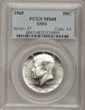 SMS Kennedy Half Dollars: , 1965 50C SMS MS68 PCGS. PCGS Population (26/0). NGC Census: (0/0).Mintage: 2,300,000. Numismedia Wsl. Price for problem fr...