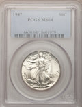 "Walking Liberty Half Dollars, (36)1947 50C MS64 PCGS. The current Coin Dealer Newsletter(Greysheet) wholesale ""bid"" price is $50.00.... (Total: 3 coins)"