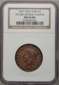 Medals And Tokens, 1837 TOKEN New York NY HT-284 George A Jarvis MS64 BN NGC. (#661837)...