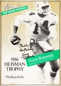 Football Collectibles:Photos, Vinny Testaverde Signed Miami Broadside and Joe Namath Signed Photograph....