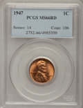 Lincoln Cents: , 1947 1C MS66 Red PCGS. PCGS Population (427/10). NGC Census:(1172/38). Mintage: 190,555,008. Numismedia Wsl. Price for pro...
