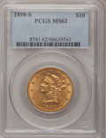 Liberty Eagles: , 1898-S $10 MS62 PCGS. PCGS Population (133/41). NGC Census:(123/21). Mintage: 473,600. Numismedia Wsl. Price for problem f...