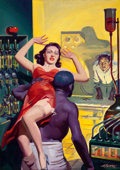Pulp, Pulp-like, Digests, and Paperback Art, HUGH JOSEPH WARD (American, 1909-1945). Through Fire, SpicyMystery Stories cover, February 1940. Oil on canvas. 30 x 21...(Total: 2 Items)