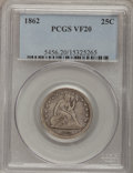 Seated Quarters: , 1862 25C VF20 PCGS. PCGS Population (2/174). NGC Census: (0/124).Mintage: 932,000. Numismedia Wsl. Price for problem free ...