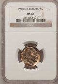 Buffalo Nickels: , 1938-D/S 5C MS63 NGC. NGC Census: (24/1666). PCGS Population (19/3609). Mintage: 7,020,000. Numismedia Wsl. Price for probl...